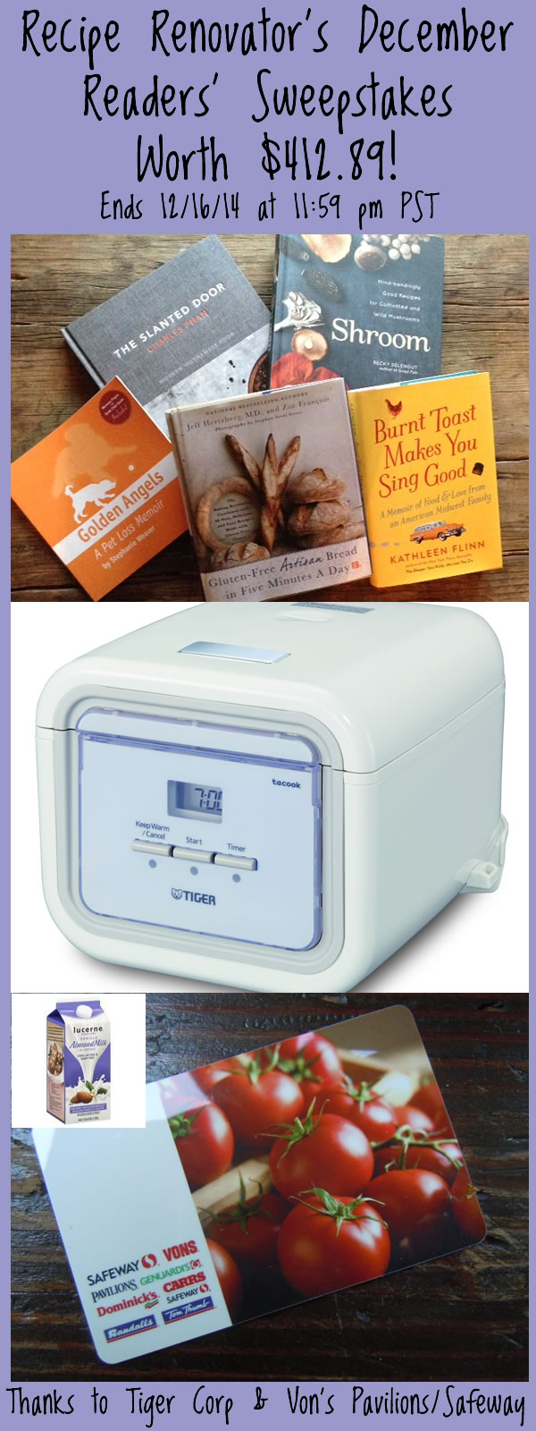 December 2014 Readers Sweepstakes Prizes | Recipe Renovator | Ends 12/16/14 at 11:59 PM PST