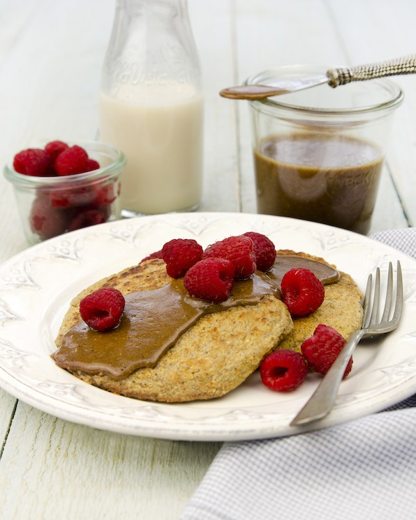 Single-Serve Pancakes with Gingerbread Pecan Nutbutter from Living Candida-Free by Ricki Heller, PhD, RHN.
