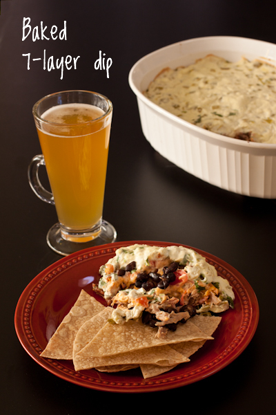 Baked 7 layer dip with pulled pork from Recipe Renovator