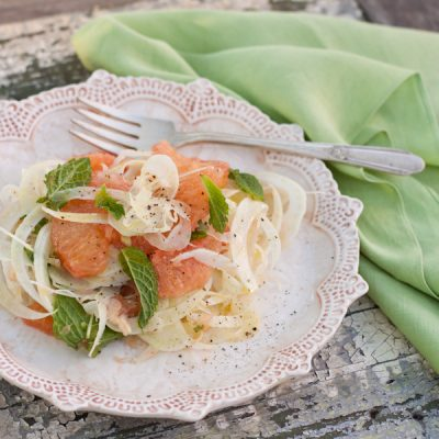 Grapefruit and shaved fennel salad with fresh mint, and a trip to the Golden Door