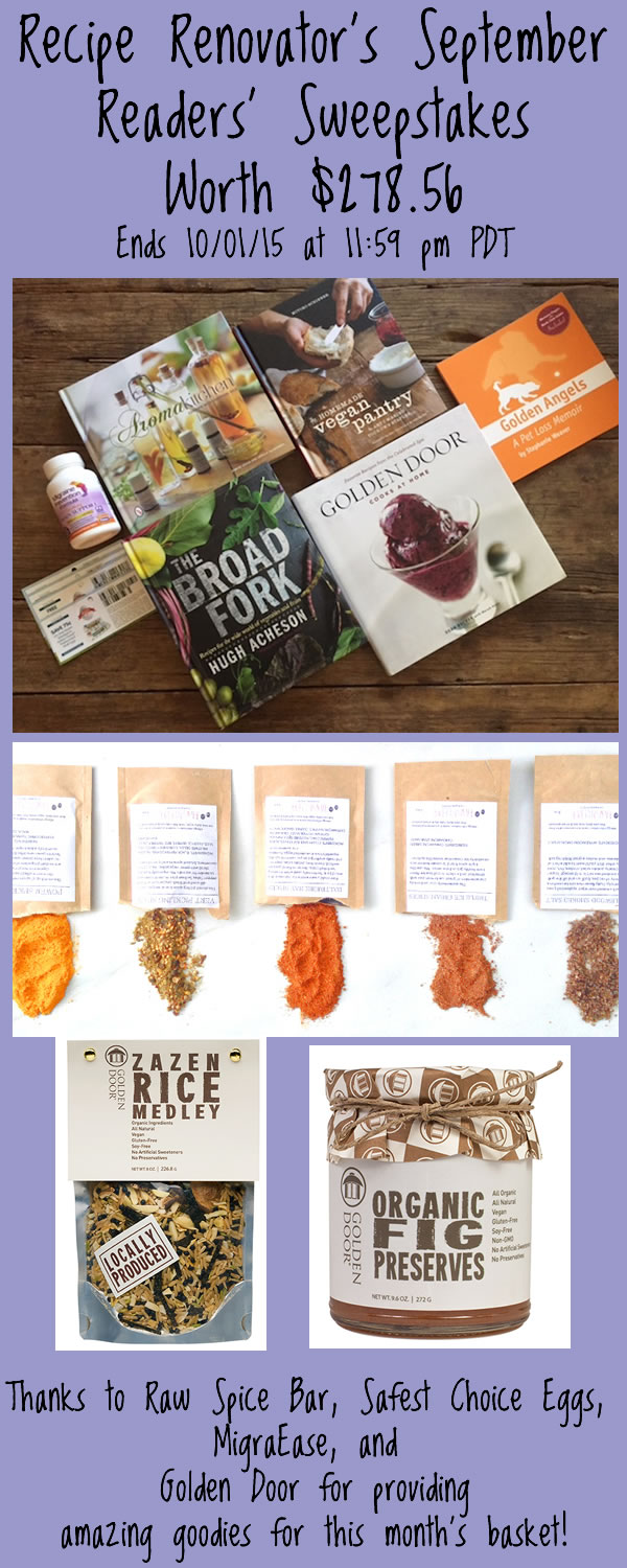 Win 5 books + spices for a year + Golden Door artisan food + egg coupons from Recipe Renovator. Ends 10/1/15 at 11:59 PM PDT