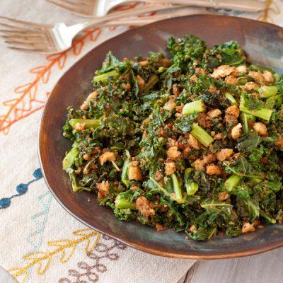 Pan-roasted kale with crispy Italian breadcrumbs {gluten-free}