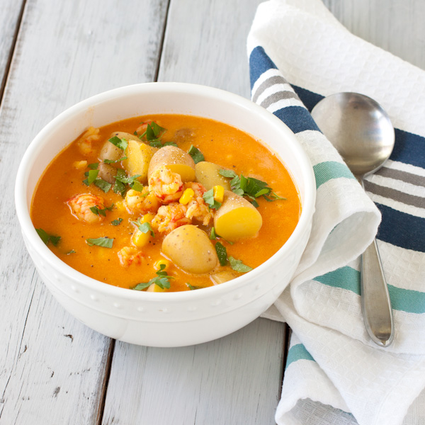 Langostino Chowder   Lobster chowder from Recipe Renovator. Gluten-free, soy-free, dairy-free. Delicious!