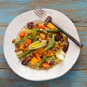 Cous Cous with Roasted Vegetables from Stephanie Weaver MPH   Gluten-free, migraine-friendly, vegan