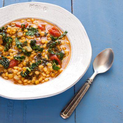 Spicy Kale and Split Pea Soup from Stephanie Weaver   gluten-free, vegan, dairy-free, low-sodium, migraine-friendly
