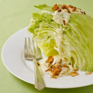 """Iceberg Wedge Salad with vegan """"cheese"""" and coconut """"bacon"""""""