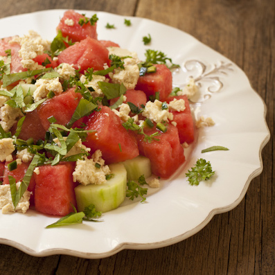 Watermelon Salad with vegan feta