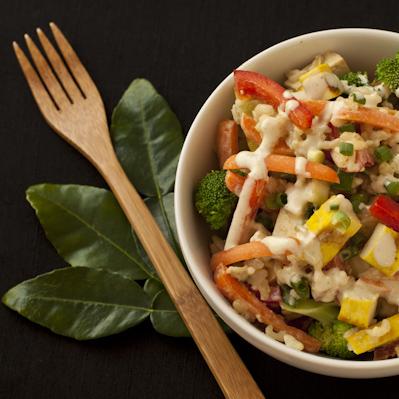 Rice Bowl Salad Asian Lime Cream Sauce