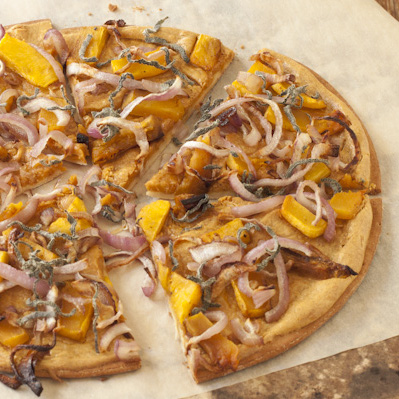 Butternut squash pizza with smoky white sauce