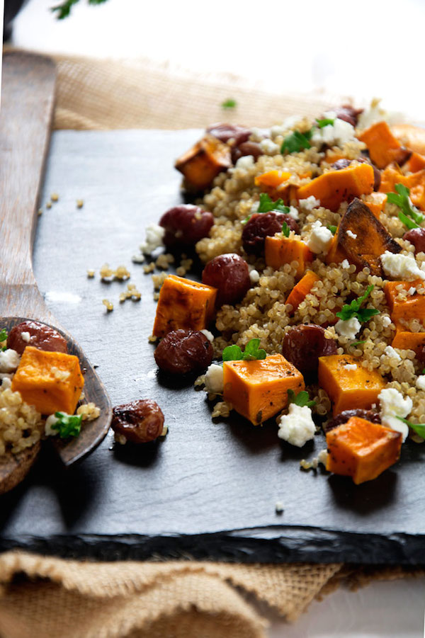 Caramelized Butternut Squash Quinoa Salad with Goat Cheese and Roasted Grapes from Housewife in Training