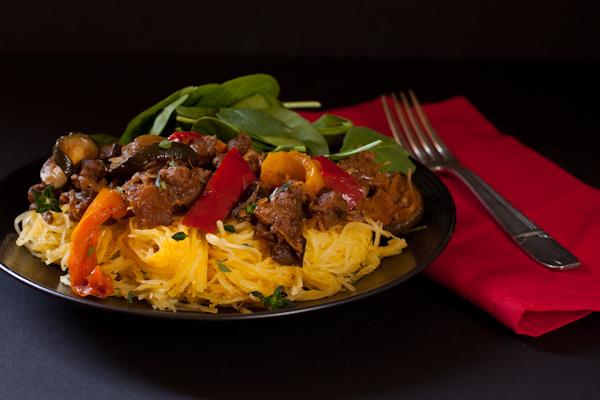 Ratatouille with ground beef and spaghetti squash | Paleo, low-sodium, gluten-free, migraine-friendly