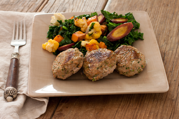 Merguez-style turkey sausages with vegetable hash from Well Fed 2 by Melissa Joulwen | on Recipe Renovator