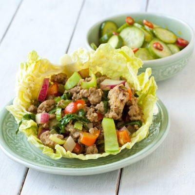 Thai Turkey Lettuce Wraps from Recipe Renovator | gluten-free, grain-free, paleo, Whole30 compliant, dairy-free