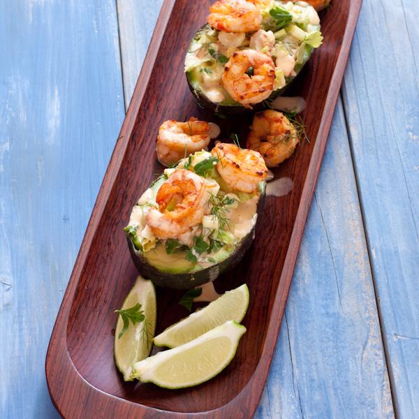 Shrimp Salad in Avocado Boats | Recipe Renovator | Gluten-free, paleo, grain-free, nut-free