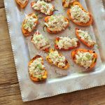 "Crab stuffed bell peppers from Recipe Renovator. Super easy but fancy appetizer using fresh crab, dairy-free ""cashew cream"", and fresh herbs. Gluten-free, paleo, dairy-free."