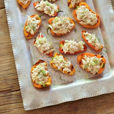 """Crab stuffed bell peppers from Recipe Renovator. Super easy but fancy appetizer using fresh crab, dairy-free """"cashew cream"""", and fresh herbs. Gluten-free, paleo, dairy-free."""