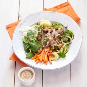 Pork Spring Roll Salad from Recipe Renovator, a great way to use up leftover pulled pork in a fresh, veg-forward salad!
