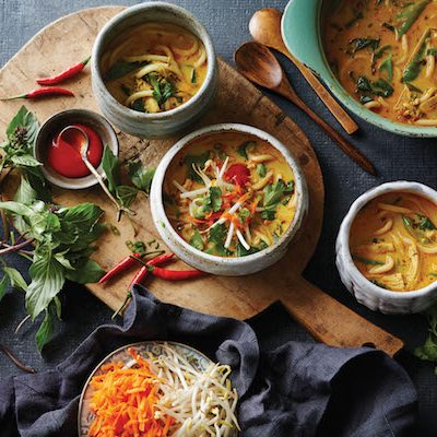 Thai Red Curry-Chicken Noodle Soup from Soup Swap by Kathy Gunst