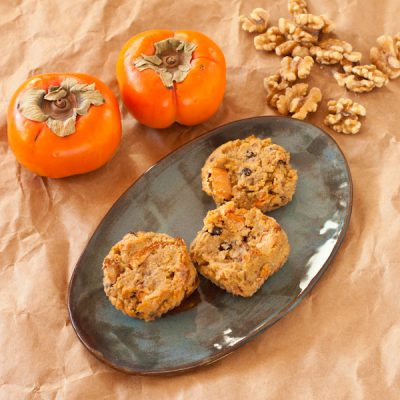 Persimmon-walnut muffins from Recipe Renovator | Grain-free, paleo, vegan