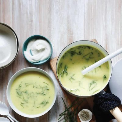 punched up potato and leek soup from The Perfect Blend by Tess Masters